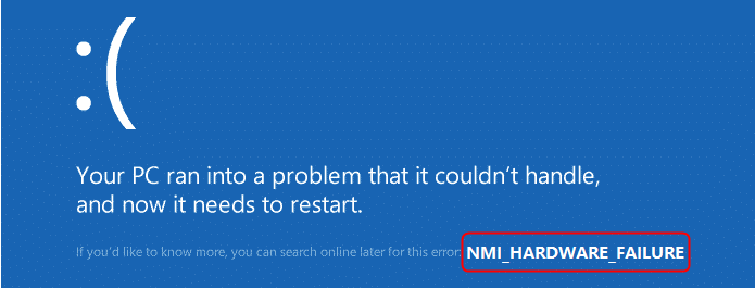 NMI_HARDWARE_FAILURE error