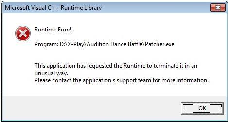 windows c++ runtime error