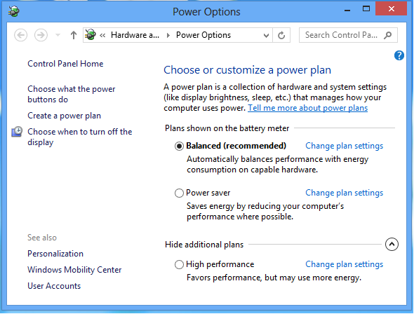 windows 8 power options