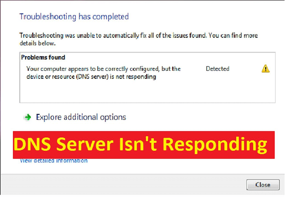 How to Fix DNS server not responding error Windows 8