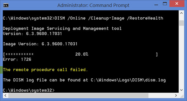 DISM of Windows 8.1 gives remote procedure call failed error - Fix