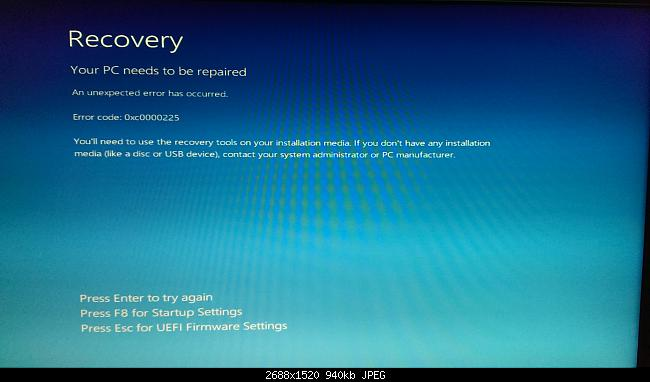 Error 0xc0000225 Windows 8.1 Pro 64-bit