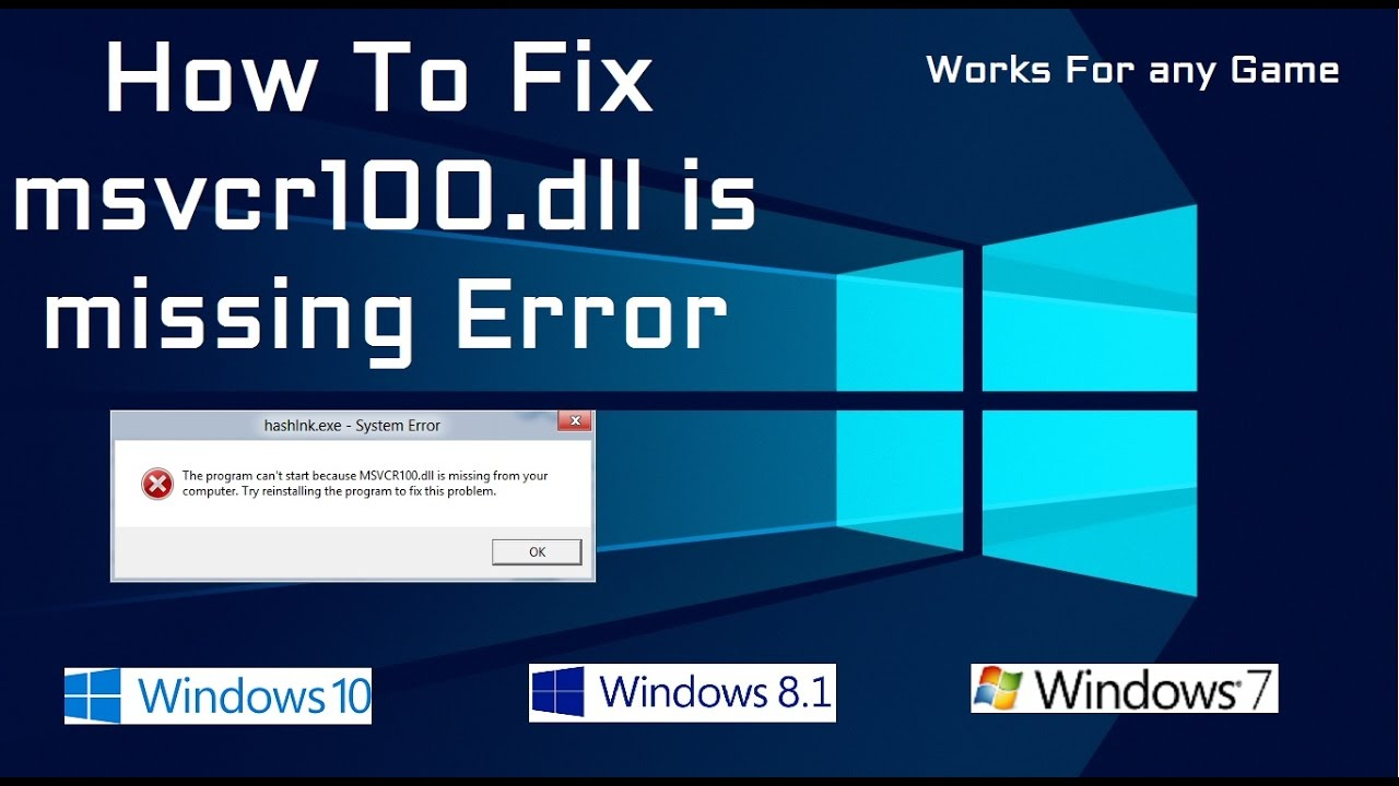 Fix MSVCR100.DLL on windows 10