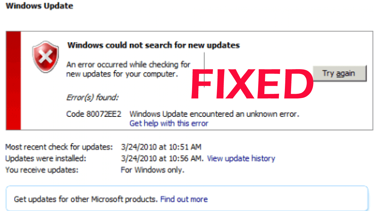 How to Fix Error Code 0x80072EE2 in Windows 10?