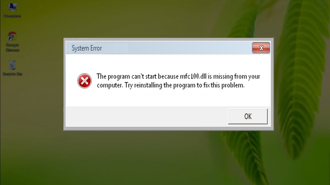 Complete steps to fix mfc100.dll Errors on Windows 8, 8.1