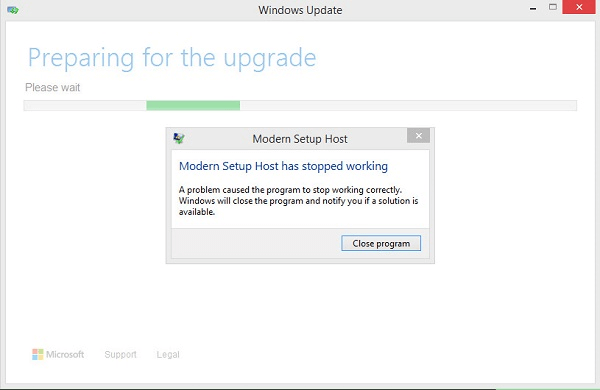 """Modern Setup Host Has Stopped Working"""" While Upgrading To"""
