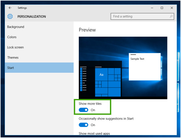 Enable More Tiles in Windows 10