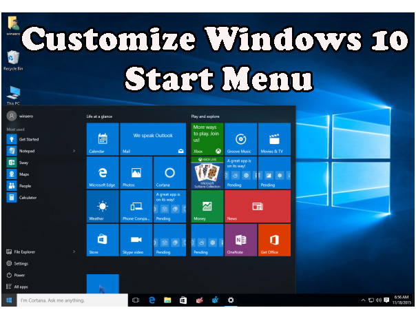 Customize or Enable More Tiles in Windows 10 Start Menu