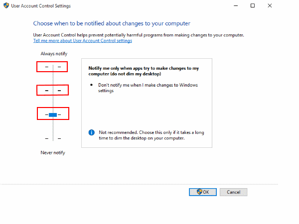 disable user account control settings windows 10