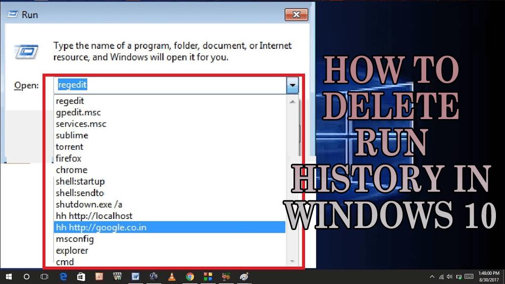delete run history windows 10