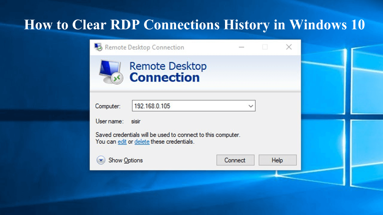 remove remote desktop connections history