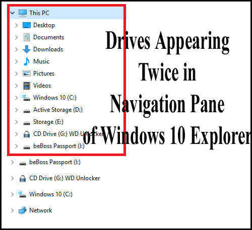 drives appearing twice in navigation pane