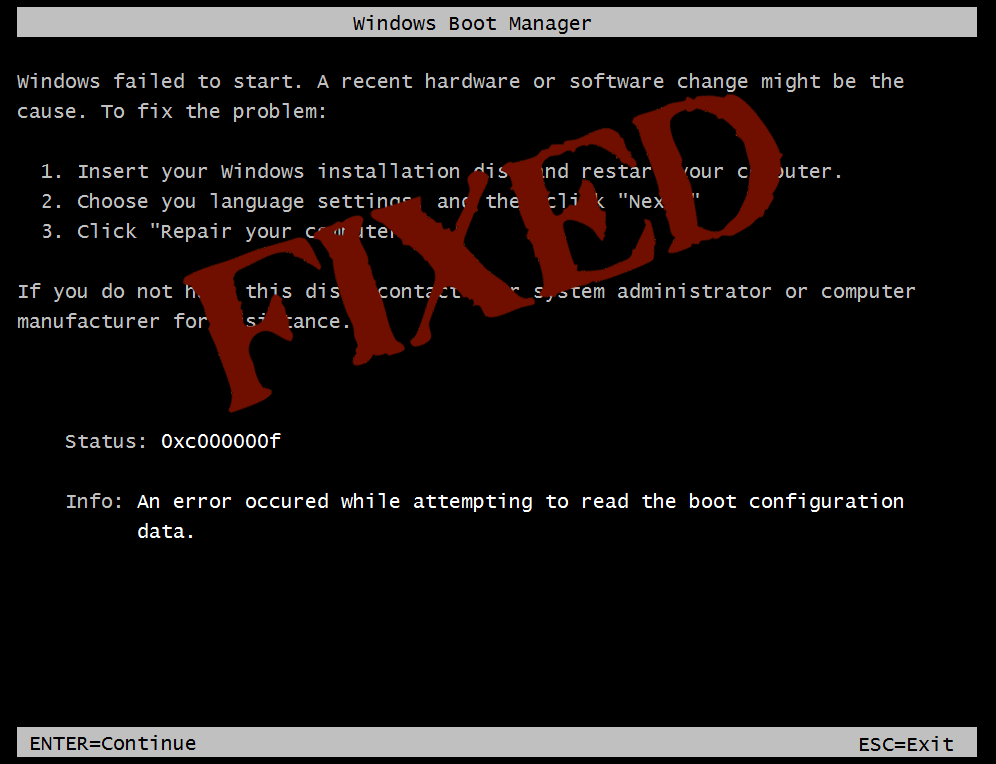 SOLVED] 0xc000000f Error in Windows XP/Vista, 7/8/8 1