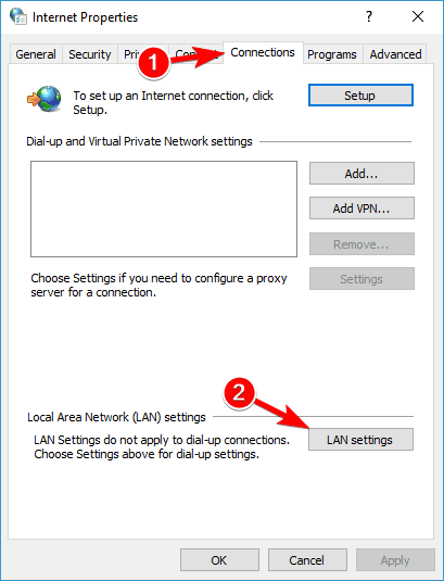 Disable Proxy for LAN