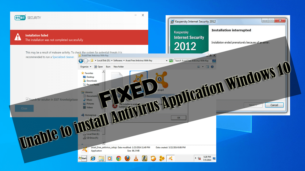 Fix Unable To Install Antivirus Application In Windows 10