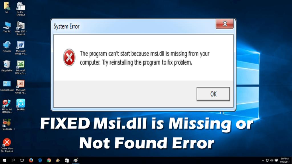 Fix Msi.dll missing or not found error