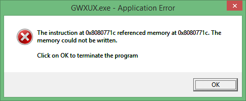 GWXUX.exe Application Error