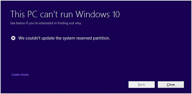 """We Couldn't Update the System Reserved Partition"" error"