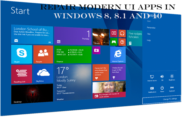 Repair Modern UI apps in Windows 8, 8.1 and 10