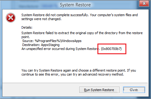 delete Backup and Restore Error 0x800700b7