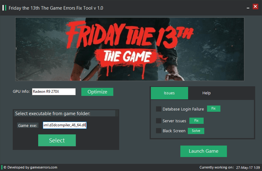 Friday the 13th The Game Errors Fix Tool