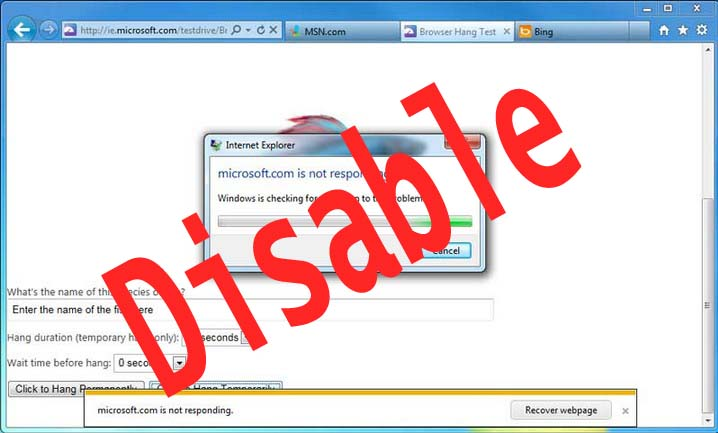disable error reporting in Windows 7