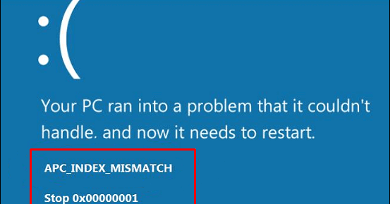 APC_INDEX_MISMATCH BSOD error Windows 10