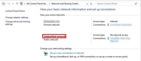 remove Unidentified Network in Windows 10