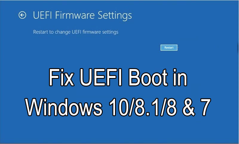 Fix UEFI Boot in Windows 10