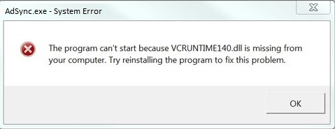 Fix vcruntime140 dll error