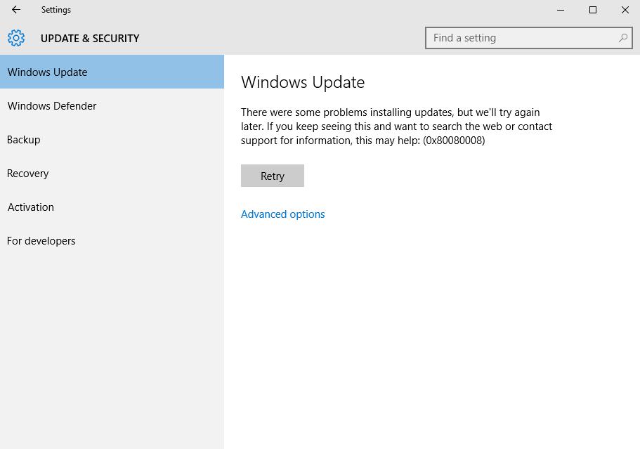 fix Windows 10 Update Error 0x80080008