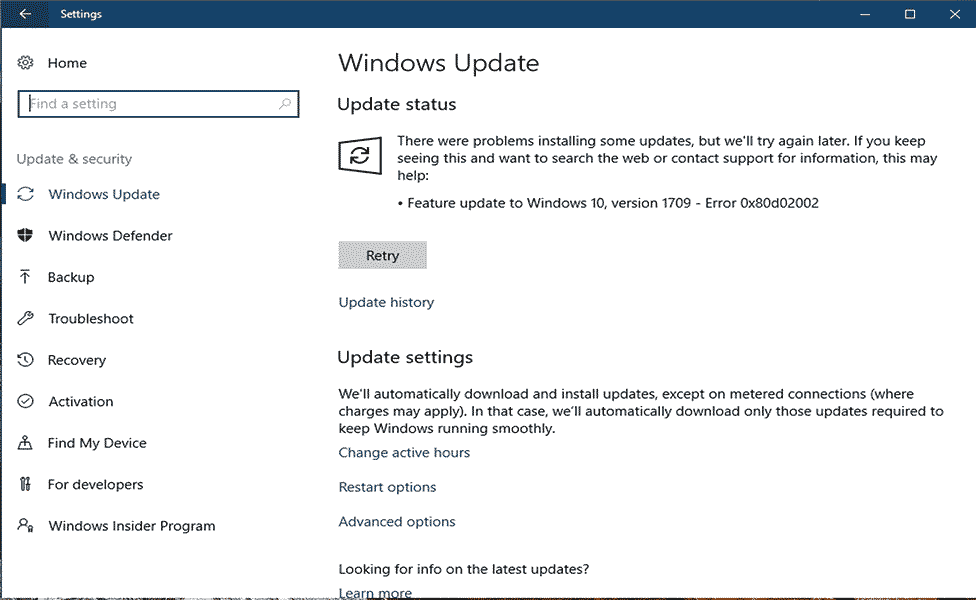 Fix Windows Update Error 0x80d02002