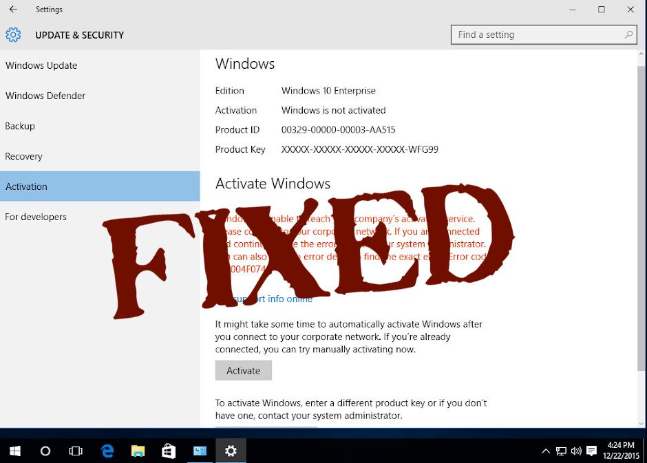 delete Activation Error 0xc004f074