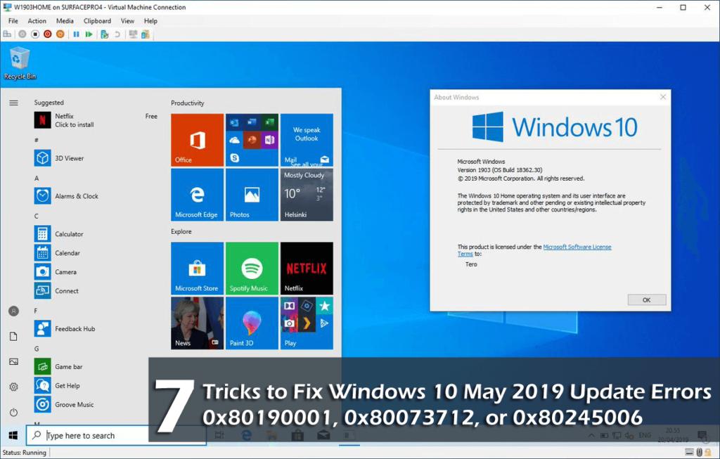 Windows 10 May 2019 Update Errors