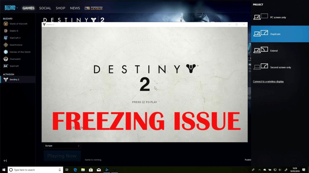 решить проблему Destiny 2 Freezing PC