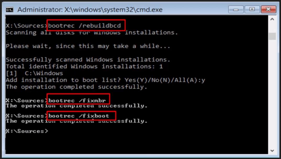 Bootrec/fixboot access denied