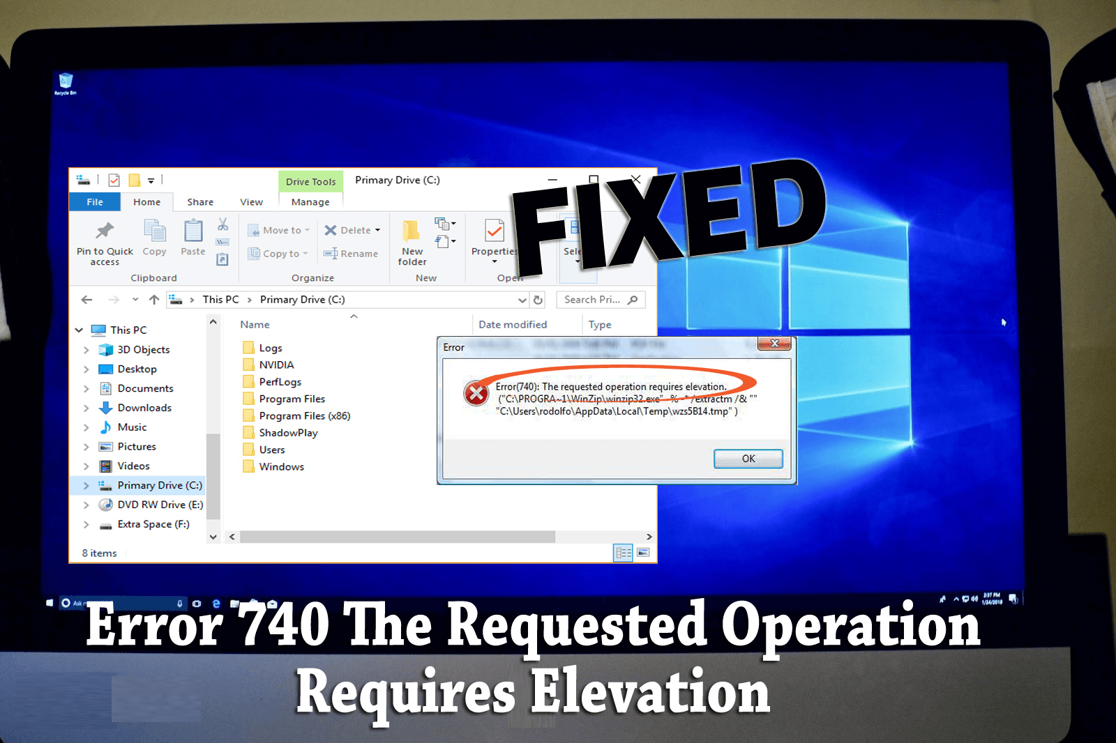 error 740 the requested operation requires elevation