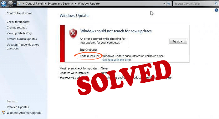 Windows Update Error 8024402C