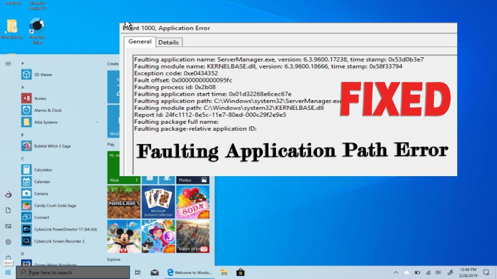 faulting application path error
