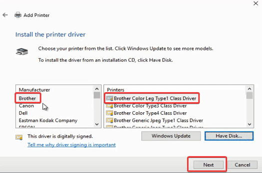 cannot install Brother Printer driver Windows 10 error