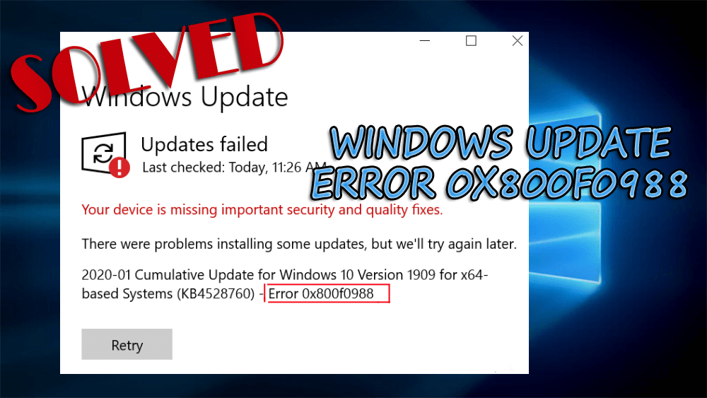 windows update error 0x800f0988
