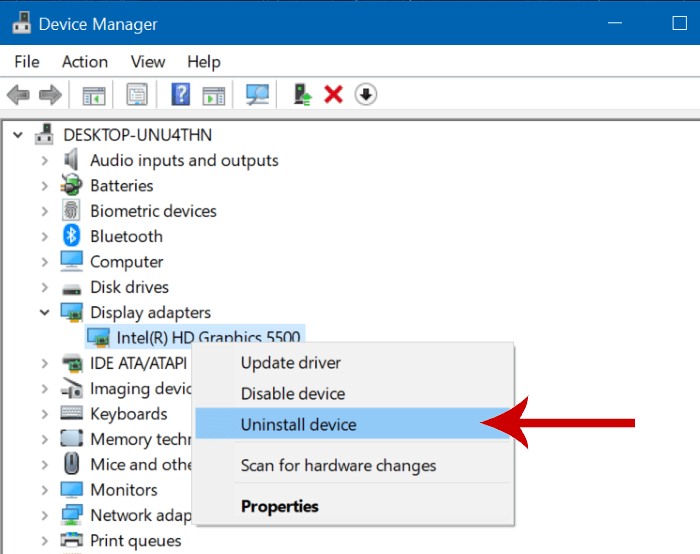 Reinstall graphic driver to fix GfxUI error