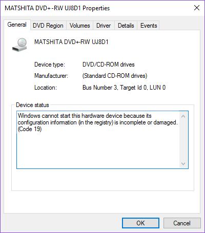 DVD/CD-ROM drives error Code 19