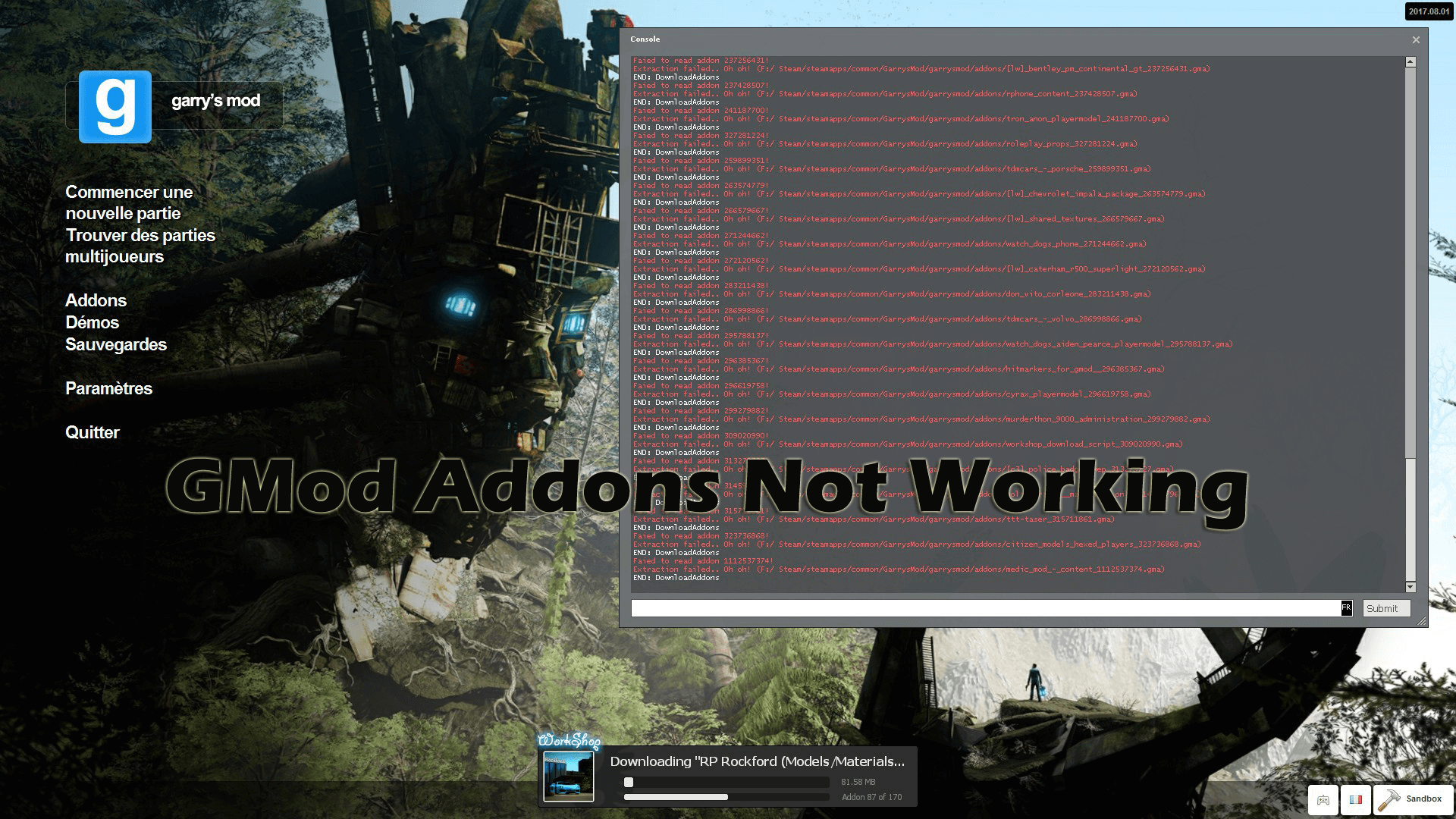GMod addons not working