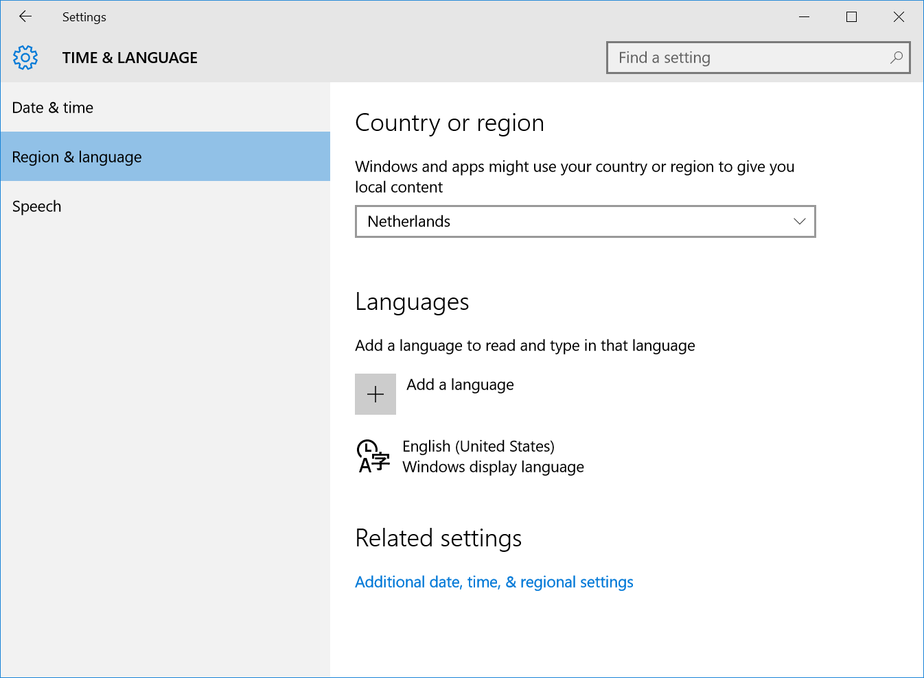 Region and language in Windows 10