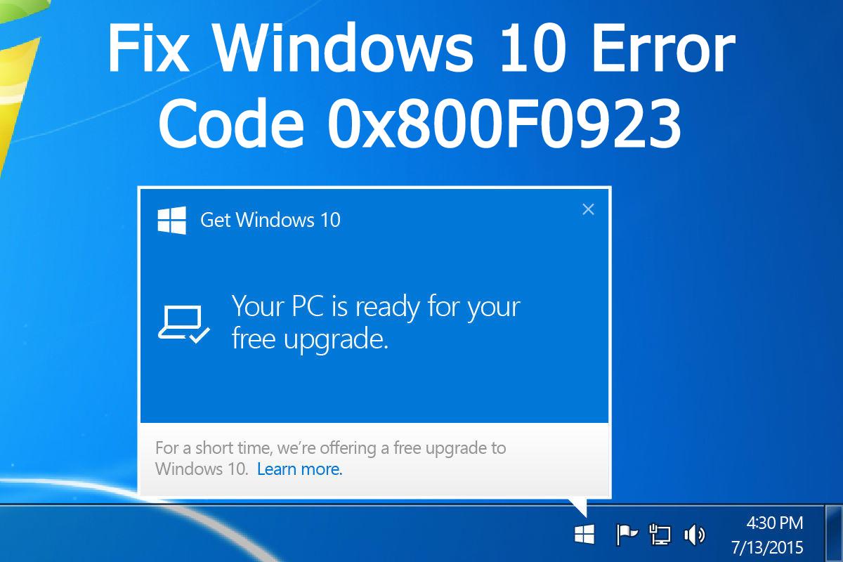 fix Windows 10 error code 0x800F0923
