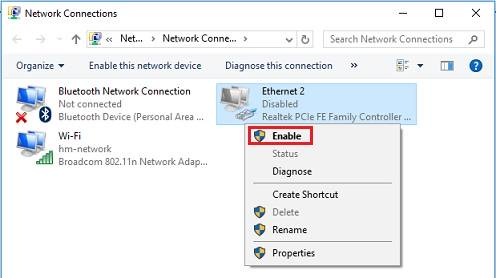 internet connection failed issue