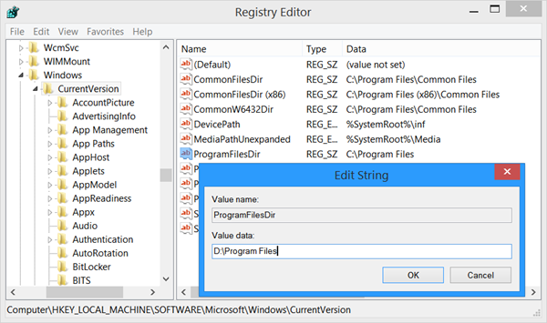 Program Dosyalarının Konumunu Değiştir
