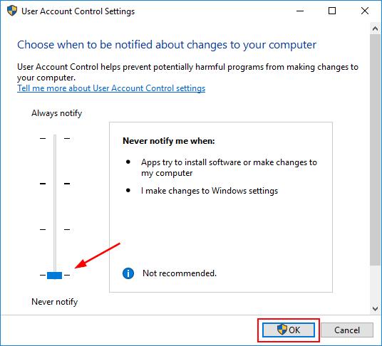 Kullanıcı Hesabı Kontrol Ayarları